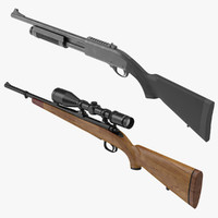 hunting rifle shotgun 3d model