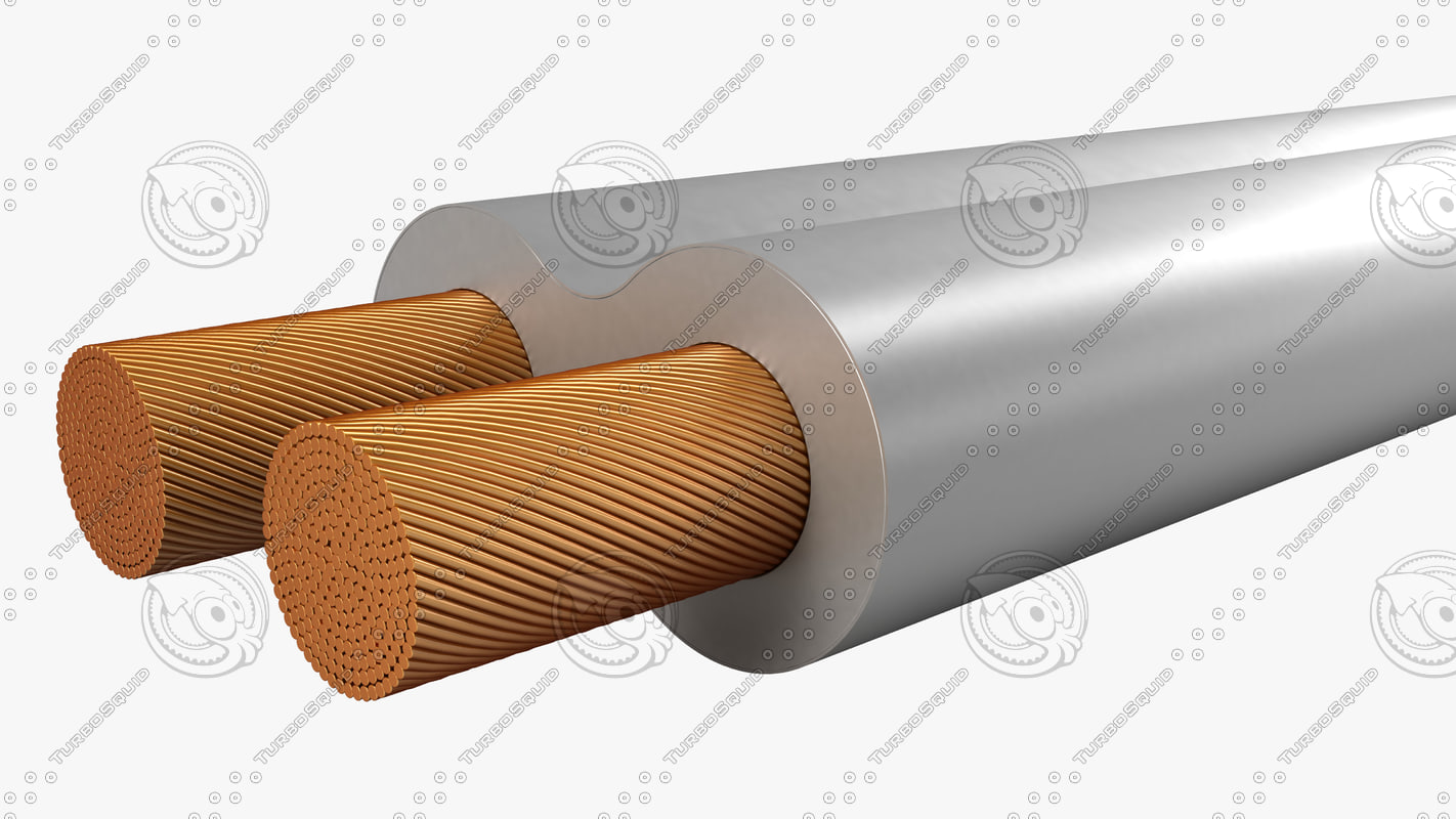 electrical cables parallel twin 3d model