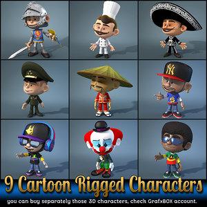 9 cartoon characters max
