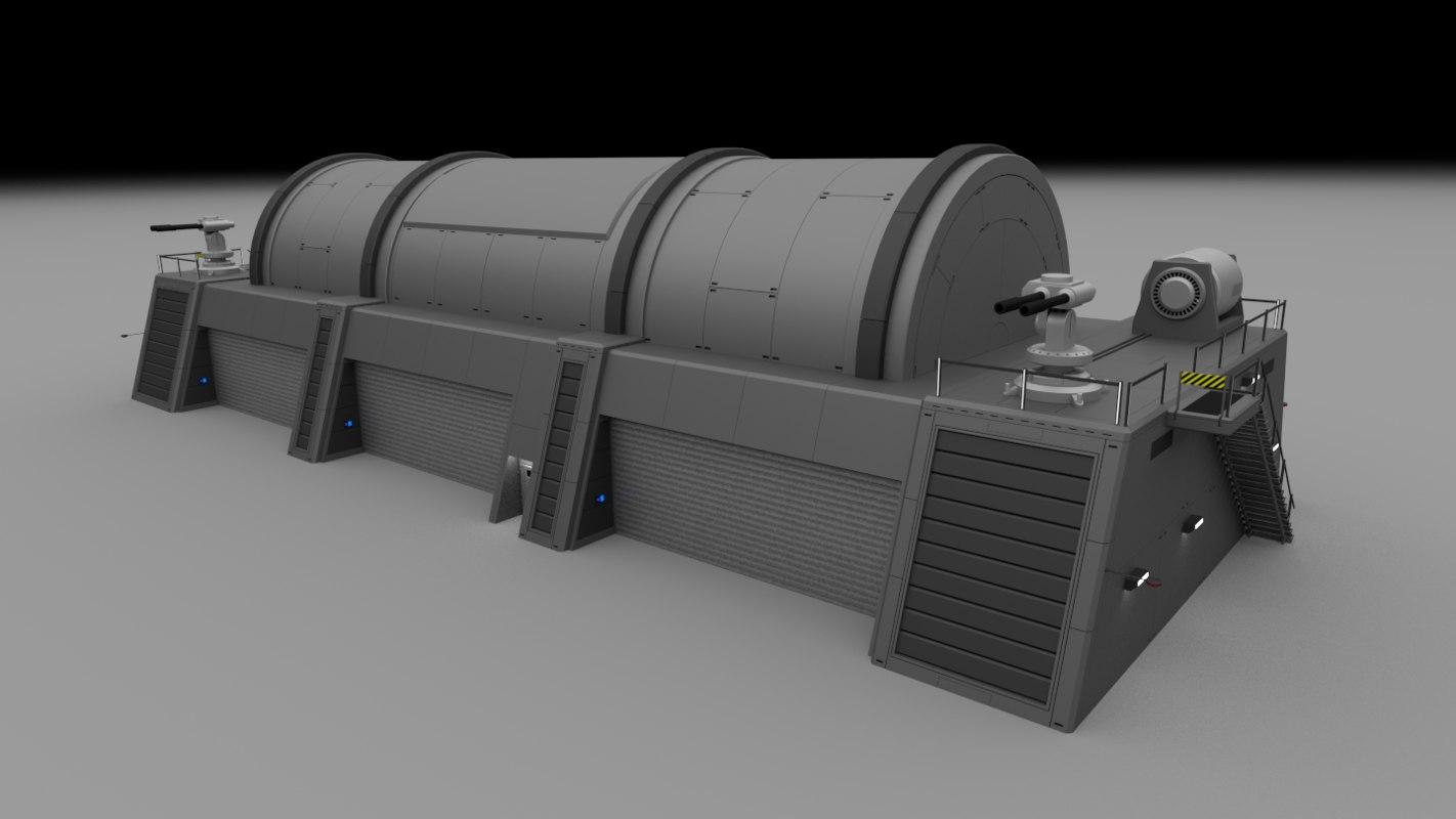 futuristic military complex 3d 3ds