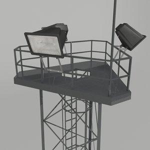 3d model spotlight tower