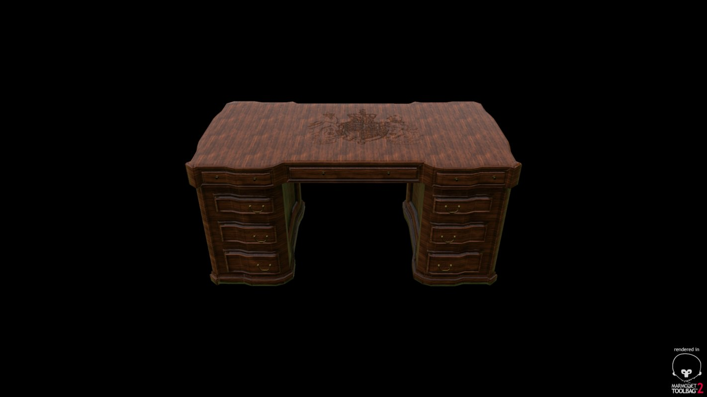 3d old antique desk model