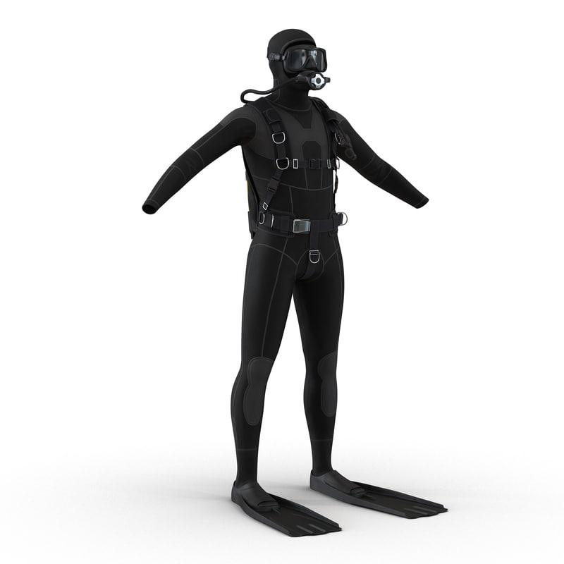 scuba diving equipment 3d model