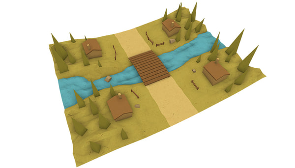 3d village runner roads