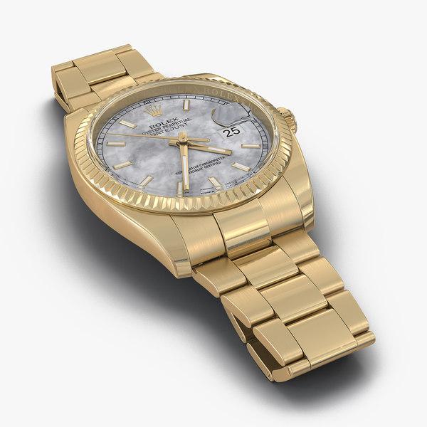 rolex datejust gold 36mm 3d max