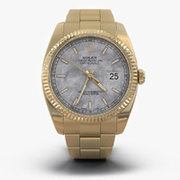 3d model rolex datejust gold 36mm