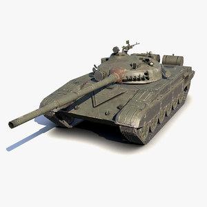 low-poly battle tank t-72 3d model