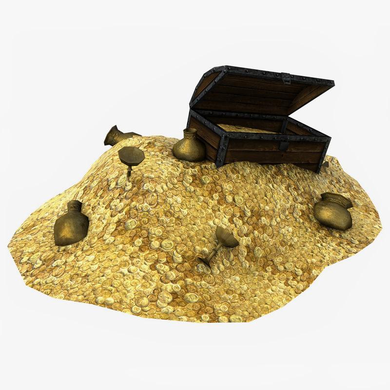 treasure coins mountain 3d model
