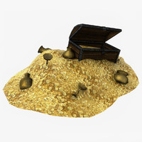 treasure coins mountain 3d model