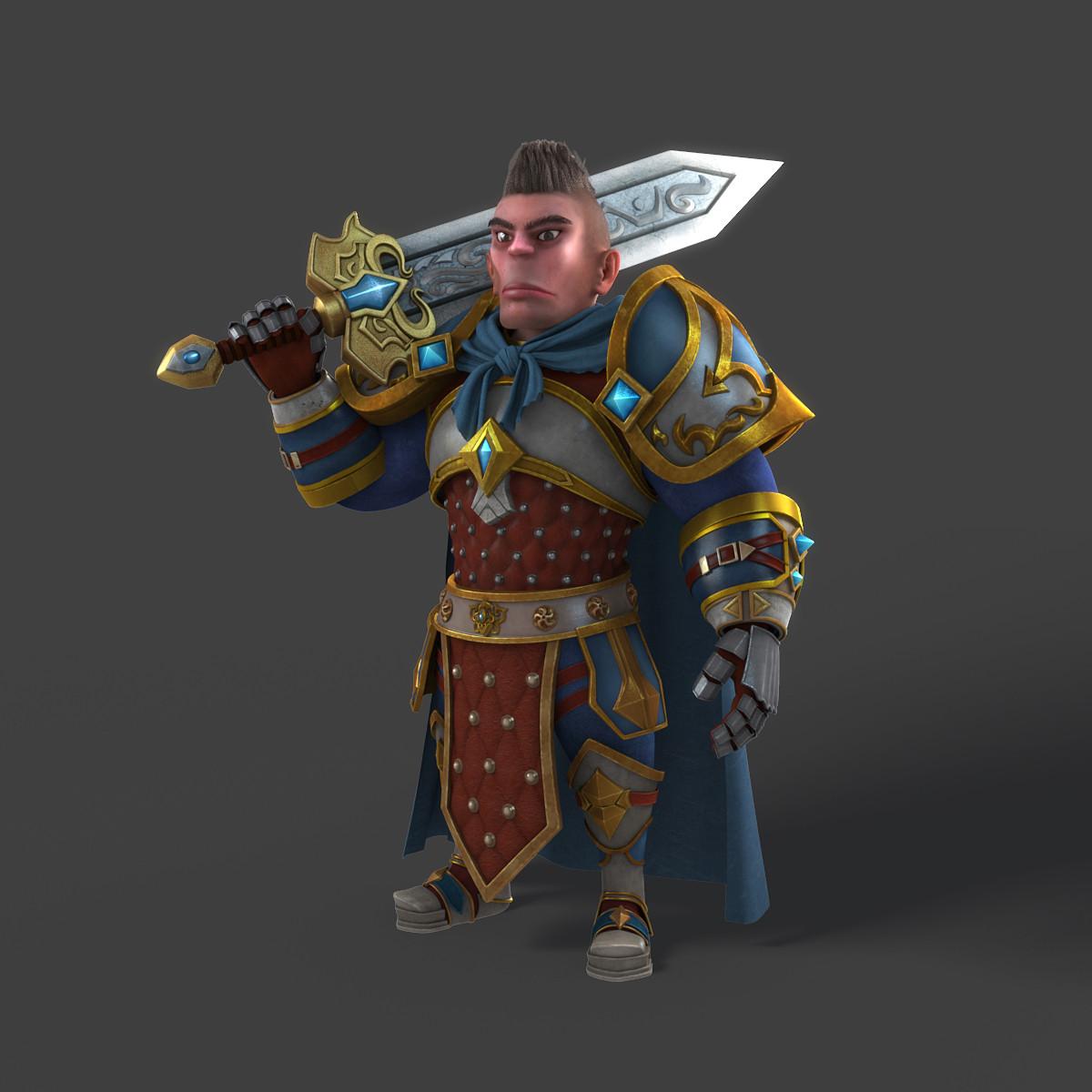 cartoon warrior rigged character 3d model