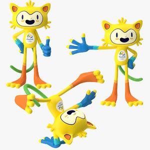 2016 olympics mascot vinicius 3d max