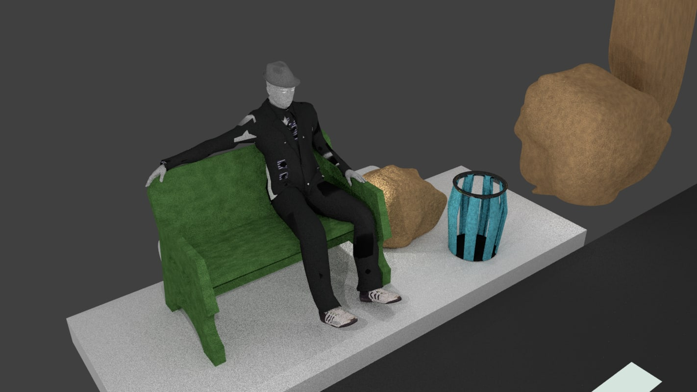 3d model of seated character bench