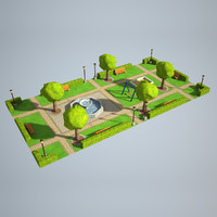 Low Poly City Park 1x2 size