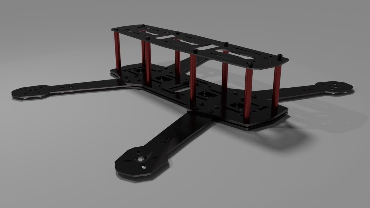 3d model quadcopter frame zmr250
