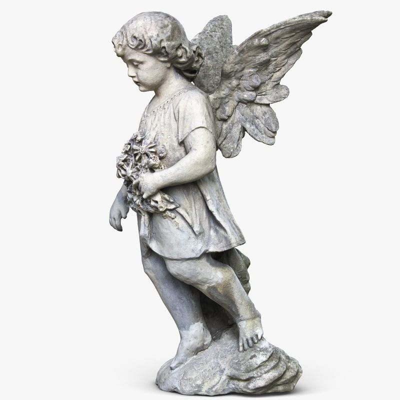 statue angel girl 3d 3ds