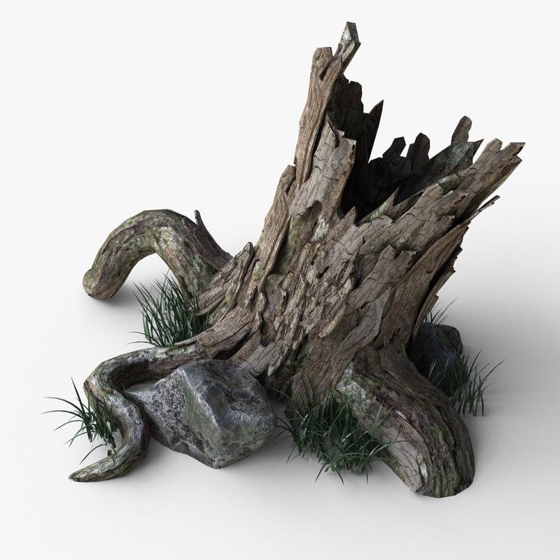 3d model stump grass