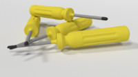 cartoon screwdriver 3d obj