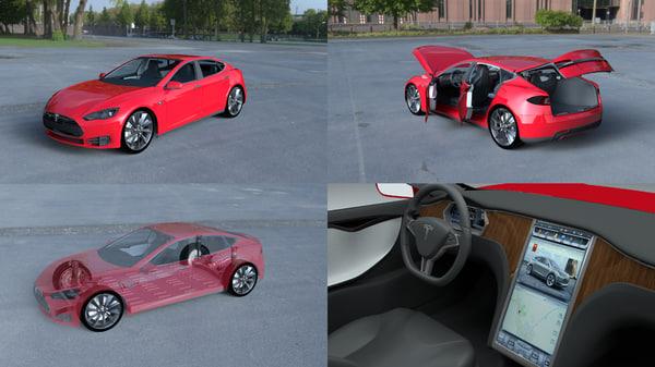 3d model tesla s interior modeled