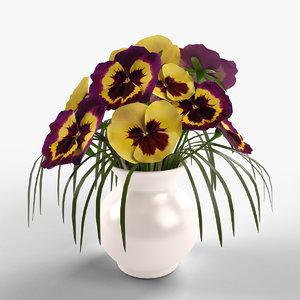 pansies bouquet 3d obj