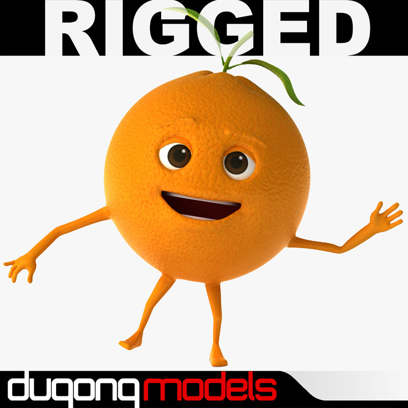 dugm07 rigged cartoon orange 3d model