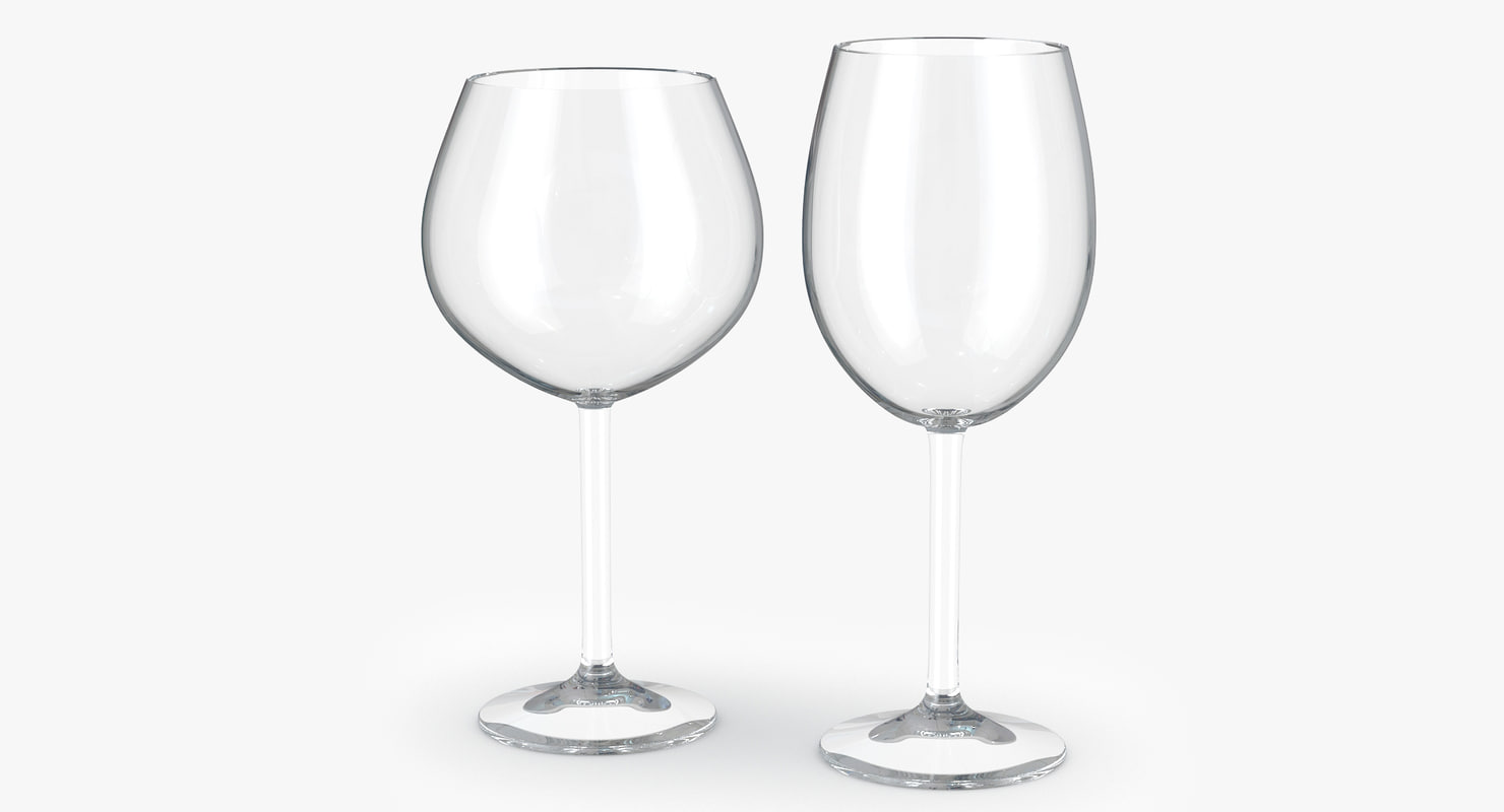3d red white wine glass model