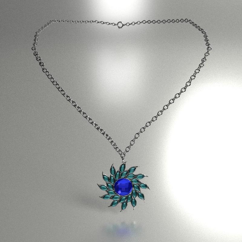 3d model necklace flower crystal