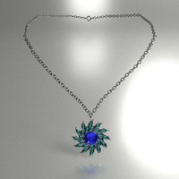 3d model necklace flower crystal