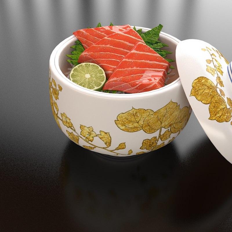 9 salmon bowl 3d max