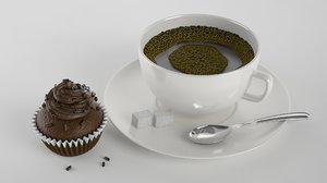 coffee cup cupcake 3d max