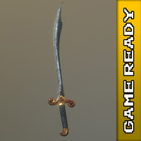 ready scimitar sword - 3d model