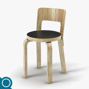 alvar aalto n65 chair designer 3d max