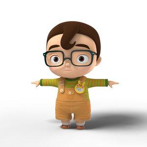 cartoon character kid 3d 3ds
