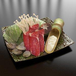 3d model 23 vegetable pork seafood