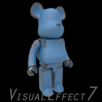 blue bearbrick brick 3d model