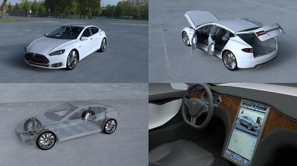 tesla s interior modeled 3d model