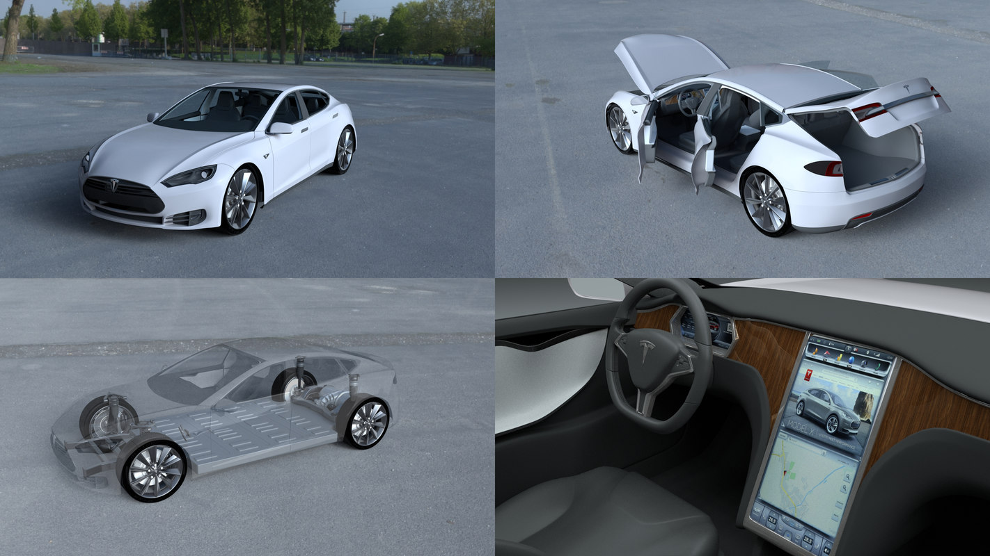 tesla s interior modeled 3d model