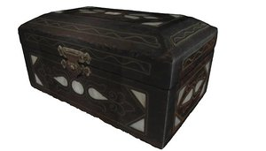 3d realistic rustic wooden jewelry box