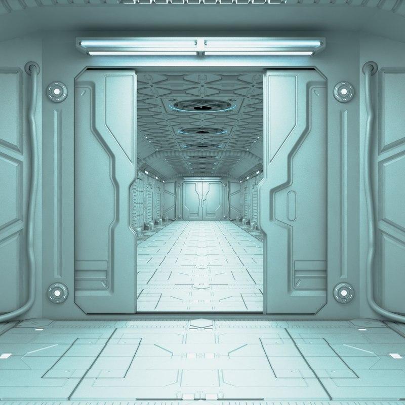 3d corridor sci-fi