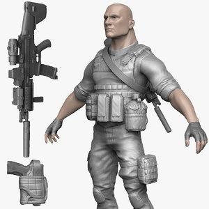 3d male soldier militant zbrush model