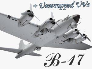 3d model b-17 flying fortress bomber
