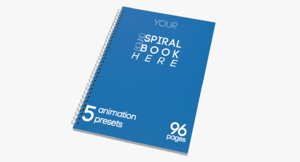 customisable spiral bound book page c4d