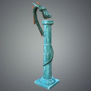 stylize pillar dragon 3d max