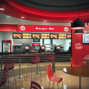 burger restaurant 3d model
