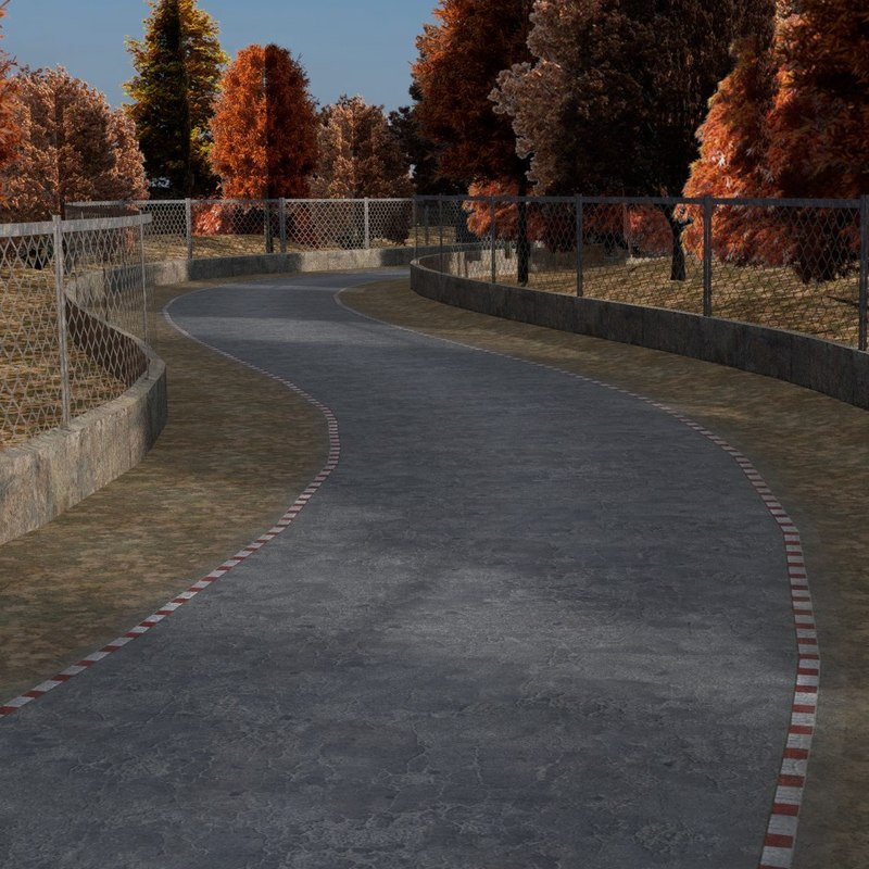 3d fbx road autumn forest -
