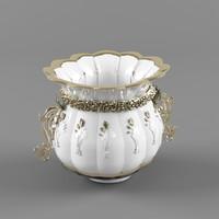 3d model of antique vase gold roses