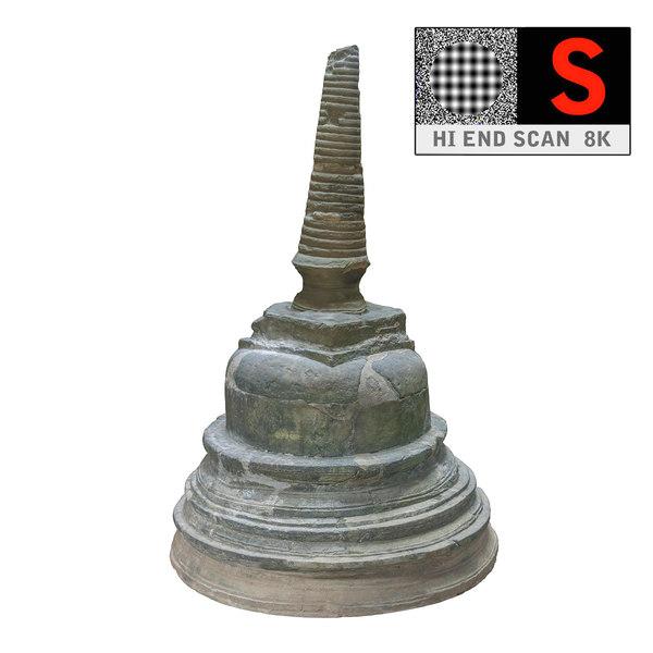 3d ancient buddhist stupa 8k model