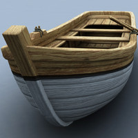 3d model wooden rowboat