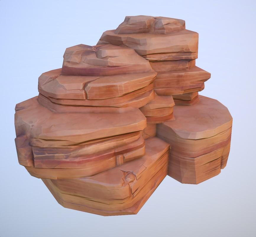 big desert rock 3d obj