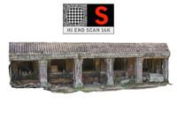 3d model wall temple ruins 16k