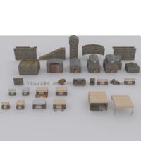 3d medieval environment modular